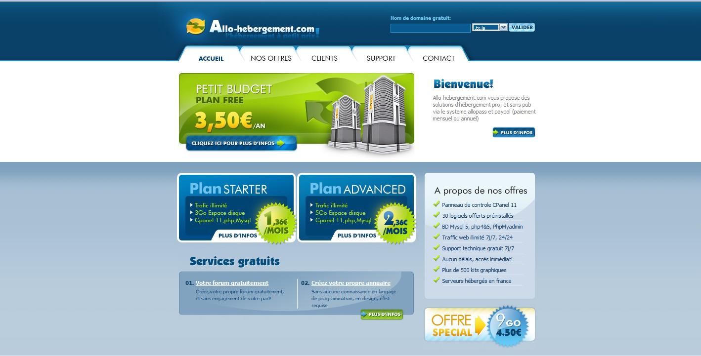 Nom de domaine gratuit hebergement web par allopass et micro paiement